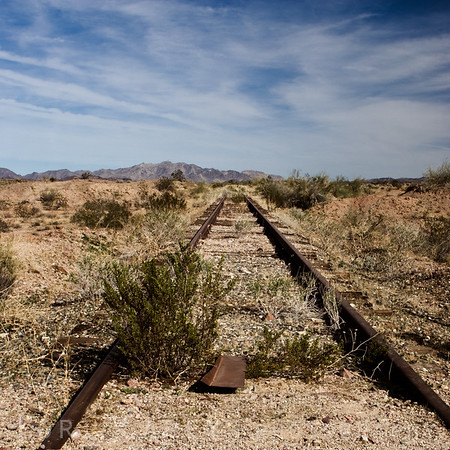 Abandoned railroad tracks in the Sonoran desert, southeastern California