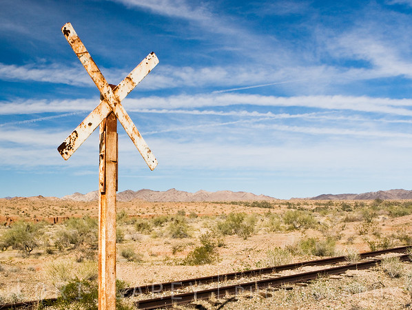 Railroad crossing along the Bradshaw Trail in the Sonoran Desert, southeastern California