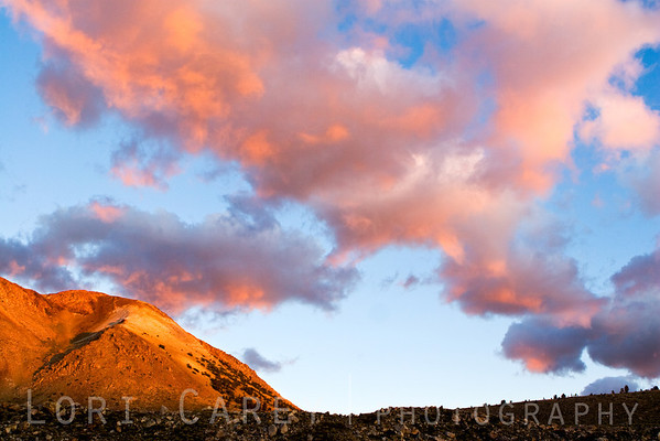Morning clouds and alpenglow at Funnel Lake in the eastern Sierra Nevada range. Elevation 10,300 feet.