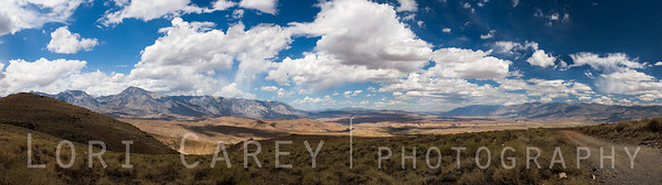 Ten frame pano taken from Coyote Creek Trail in the Sierra Nevada Mountains near Bishop, California. Looking out over Owens Valley, the Owens River Gorge, and Volcanic Tablelands. Please click on photo to view larger size.