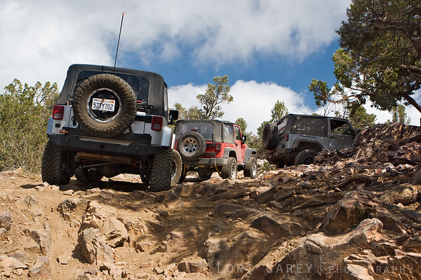 Three jeeps on the Gold Mountain trail in Big Bear, California