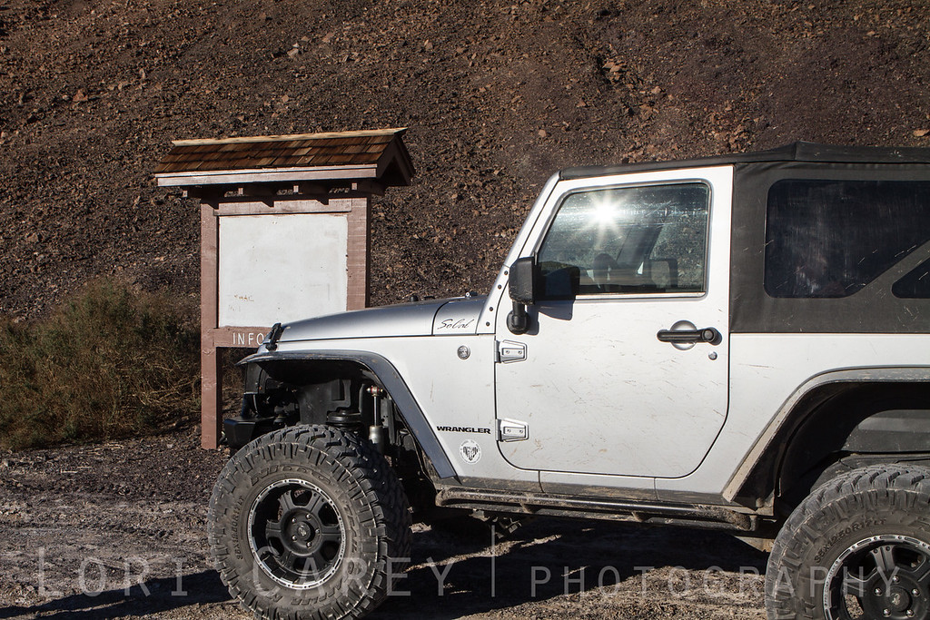 Jeep Wrangler at Saratoga Springs trailhead, Death Valley National Park