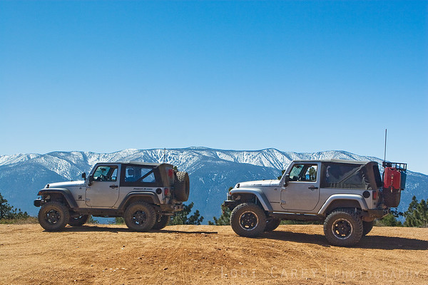 Stopping the jeeps to enjoy the view along Skyline Drive in the Big Bear mountains, California