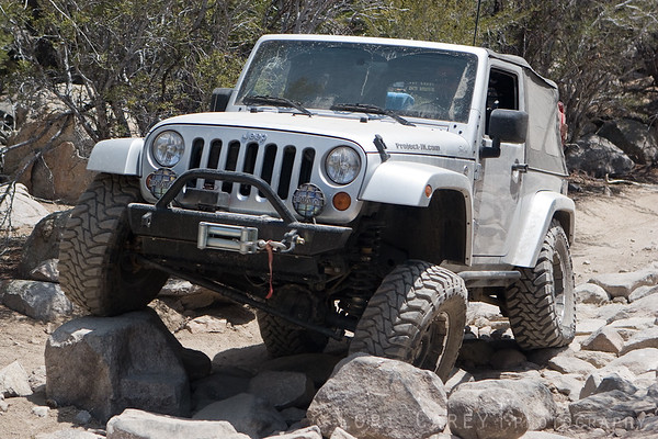Jeep crawling through a rock garden on John Bull