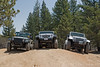 Jeeps stopping for a moment at the end of the difficult section of the John Bull trail in Big Bear, California