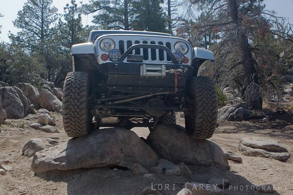 Jeep crawling over rocks on the John Bull trail in Big Bear, California