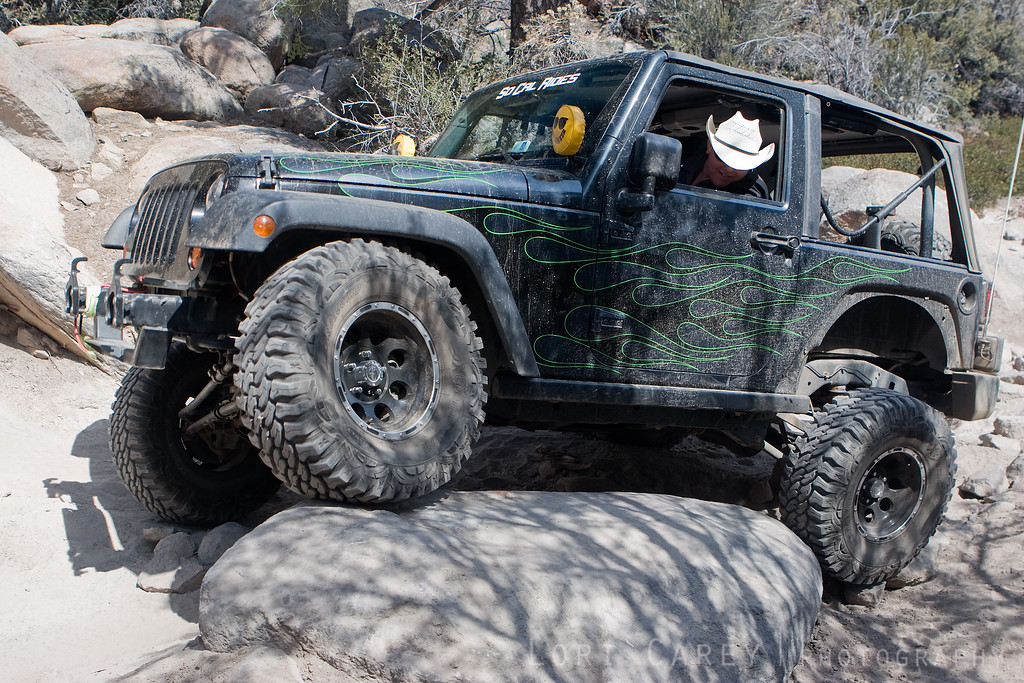 Jeep crawling over rocks on John Bull trail, Big Bear mountains, California