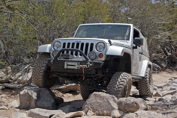 Jeep crawling through a rock garden on John Bull