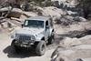 Jeep wrangler JK on John Bull trail in Big Bear mountains, California