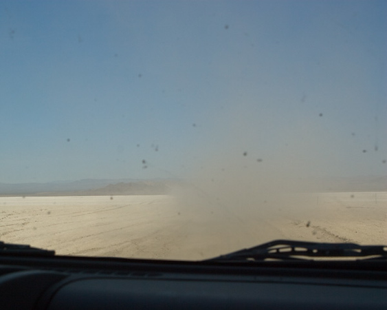 This is what it looks like driving across Soda Dry Lake when you're not the lead dog.
