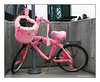 John Halcyon Styn's fuzzy pink bicycle spotted at the Solana Beach train station.