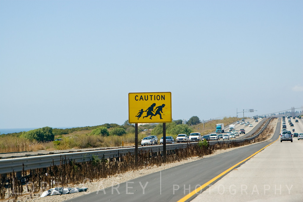 "The CALTRANS ""Running Family"" sign just south of the border checkpoint on Interstate 5 near Camp Pendleton, in San Diego County, California. After numerous fatalities of people attempting to evade border security, especially at this most-deadly location where people would run for the beach, the signs were installed in the 1990's to warn motorists to watch for pedestrians fleeing from vehicles before reaching the checkpoint. The signs soon came to represent the increasing tension over US-Mexico border policy. While most hispanics considered the signs to be racial stereotyping, many Californians used it as a symbol of protest against illegal immigration. Soon the sign could be seen on T-shirts, coffee mugs and stickers.<br /> <br /> With the increased security at the US borders since 9-11, fatalities are no longer the concern they had been in the 90's and there was public pressure to remove the signs. CALTRANS decommissioned them in 2008 and the signs were removed. Designed by graphic artist John Hood, one of the signs is on display in the Smithsonian."