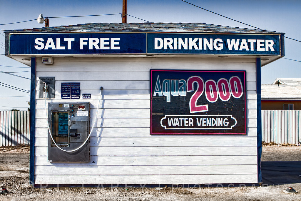 Aqua 2000 free-standing coin operated salt free water vending machine in Seeley, California.