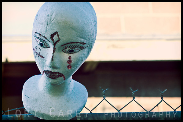 Styrofoam mannequin head street art in Bombay Beach, California