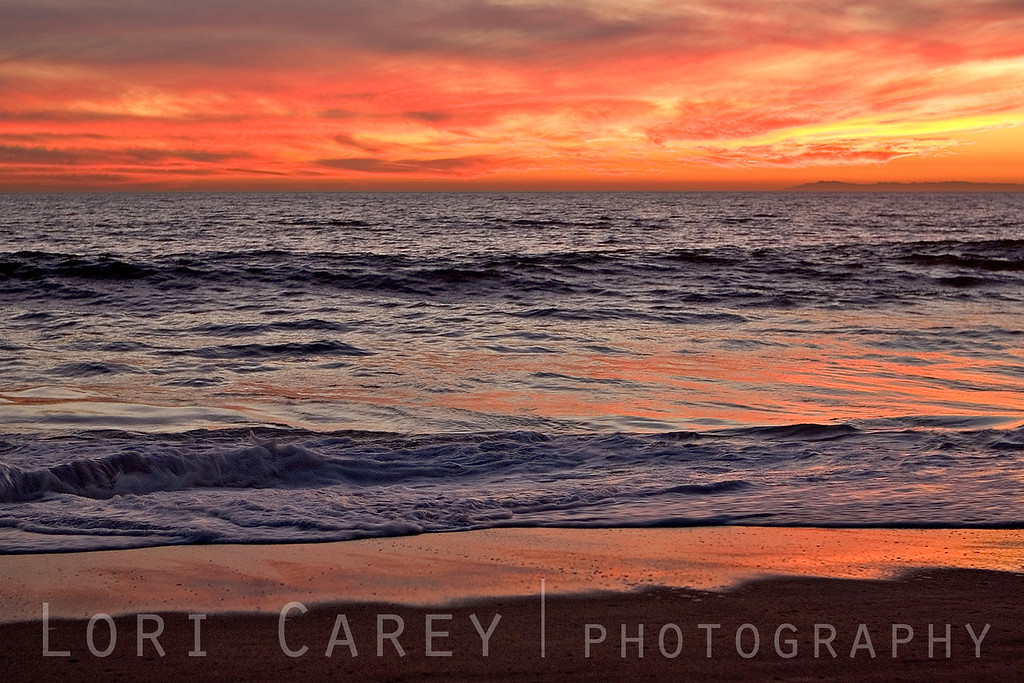 A fire sunset over the Pacific Ocean in San Clemente, California