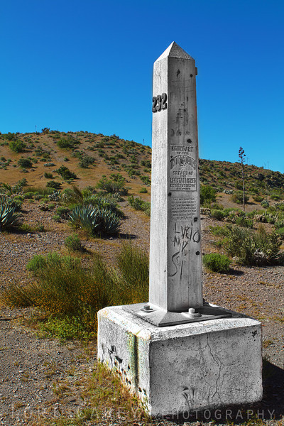 Border Monument No. 232, one of the boundary markers placed in the mid-1800s by the International Boundary Commission to demarcate the new international boundary lines after the Guadalupe Hidalgo Treaty of 1848 and the Gadsden Treaty of 1853. This monument is made of iron. Of the original 52 monuments only 7 were made of marble or iron; the rest were stone mounds built without mortar.