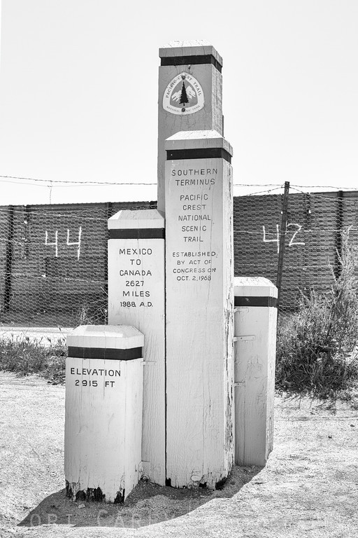 Southern terminus of the Pacific Coast Trail (PCT) at the US-Mexico border.