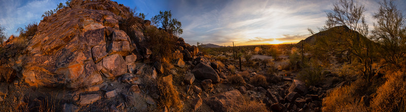 Hohokam petroglyphs at sunset panorama, southern Arizona