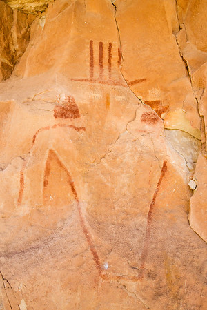 Cave Valley Style anthropomorph pictograph with carved eyes, Arizona