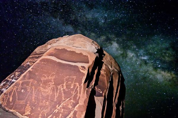 Fremont petroglyphs and the Milky Way Galaxy, San Rafael Swell, Emery County, Utah