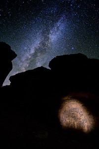 Rochester Creek Petroglyph panel and the Milky Way Galaxy, Molen Reef, San Rafael Swell, Emery County, Utah