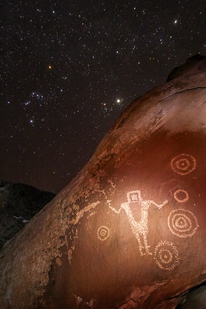 Orion constellation and Fremont petroglyphs, Utah
