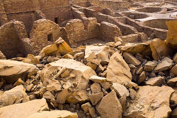 Damage from Threatening Rock, Pueblo Bonito Chaco Canyonal National Historical Park, San Juan County, New Mexico