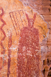 Closeup of anthropomorphic and abstract pictographs, Desert Archaic, Escalante / Grand Staircase National Monument, Garfield County, Utah