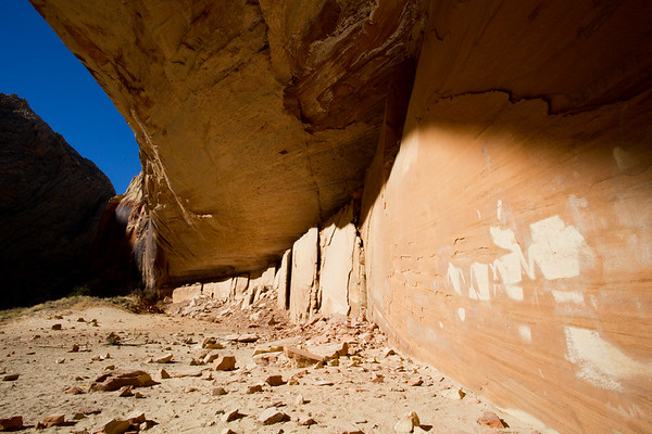 Fremont anthropomorphic pictographs in alcove (pre-vandalism), Escalante / Grand Staircase National Monument, Garfield County, Utah