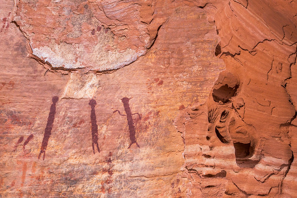 Canyon alcove pictographs, Desert Archaic, Escalante / Grand Staircase National Monument, Garfield County, Utah