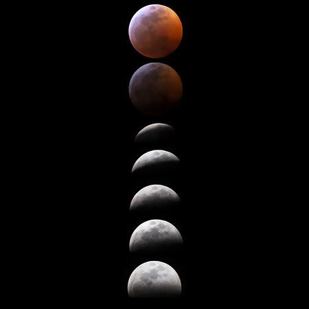 2019 blood moon lunar eclipse progression as seen from Tucson, Arizona