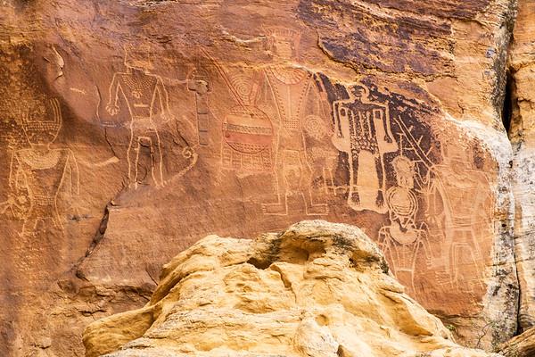 """""""Three Kings"""" petroglyphs, McConkie Ranch, Uintah County, Utah"""