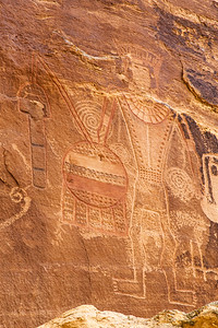 """Three Kings"" Petroglyphs Closeup, McConkie Ranch, Uintah County, Utah"