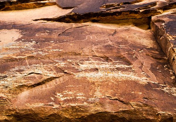 Anthropomorph and bear petroglyphs, McConkie Ranch, Uintah County, Utah