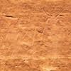 Anthropomorphic petroglyphs with rake-like objects, Fremont, Molen Reef, Utah