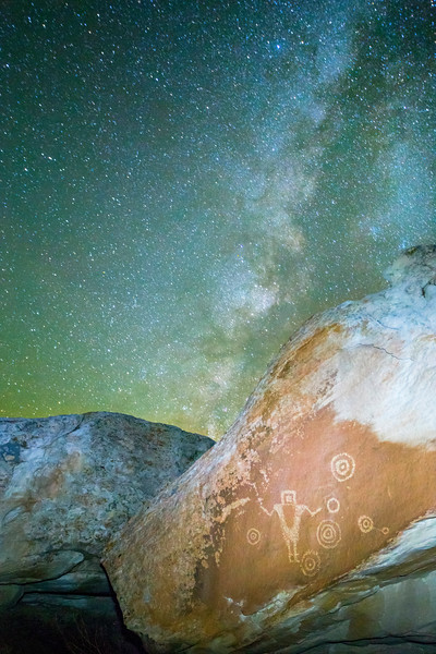 Fremont petroglyphs under the Milky Way Galaxy, Molen Reef, Utah