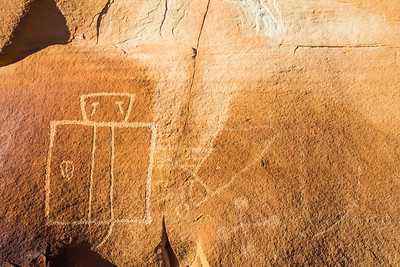 Human figure with tears, Fremont-era petroglyph, Molen Reef, Utah