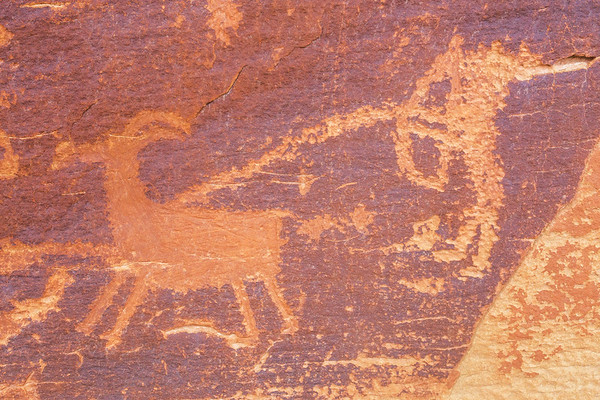 Hunter and bighorn sheep petroglyphs, Fremont-era, Molen Reef, Utah