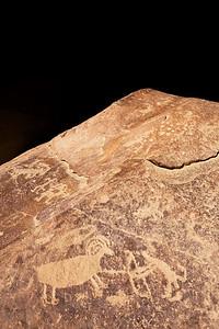 Hunter and sheep petroglyphs, Fremont, Nine Mile Canyon, Utah