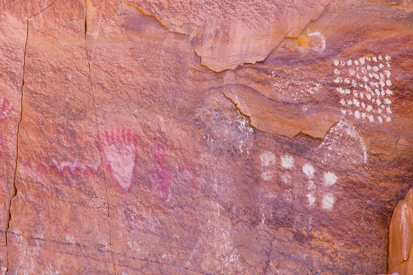 Bear print and abstract pattern pictographs, Fremont, Nine Mile Canyon, Utah