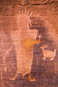 Anthropomorphic figure with sheep petroglyphs, Fremont, Nine Mile Canyon, Utah