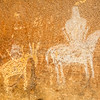 Ute horseback rider pictograph with horse petroglyph, Nine Mile Canyon, Utah
