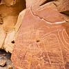 Fertility scene petroglyphs with textile elements, Fremont, Nine Mile Canyon, Utah