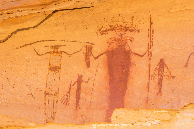 Barrier Canyon Style gathering pictographs, Desert Archaic, San Rafael Swell, Emery County, Utah
