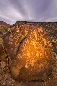 Virgin Ancestral Puebloan petroglyph boulder, Utah