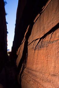 Ancestral Puebloan petroglyphs in a slot canyon, Utah