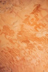 Densely painted Ancestral Puebloan panel, Utah