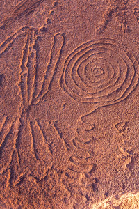 Incised petroglyphs, Barrier Canyon Style, Desert Archaic, Utah