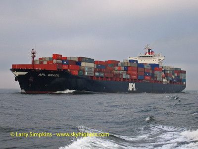 Container ship, APL Brazil entering New York Harbor, October 2006. Image# 048