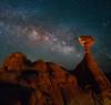In Close With Milky Way Below The Milky Way - Toadstool Hoodoos, Kanab, Utah